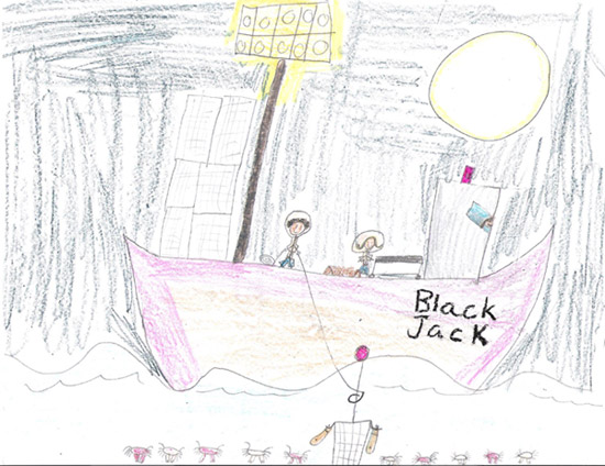 "Want to share one from my daughter, Cait, who is 8. While watching a Deadliest Catch marathon, she designed a boat for our family named ""Black Jack"" after our 106-lb. Lab/Newfoundland.  That's Cait in the wheel house, with me and my husband on deck"