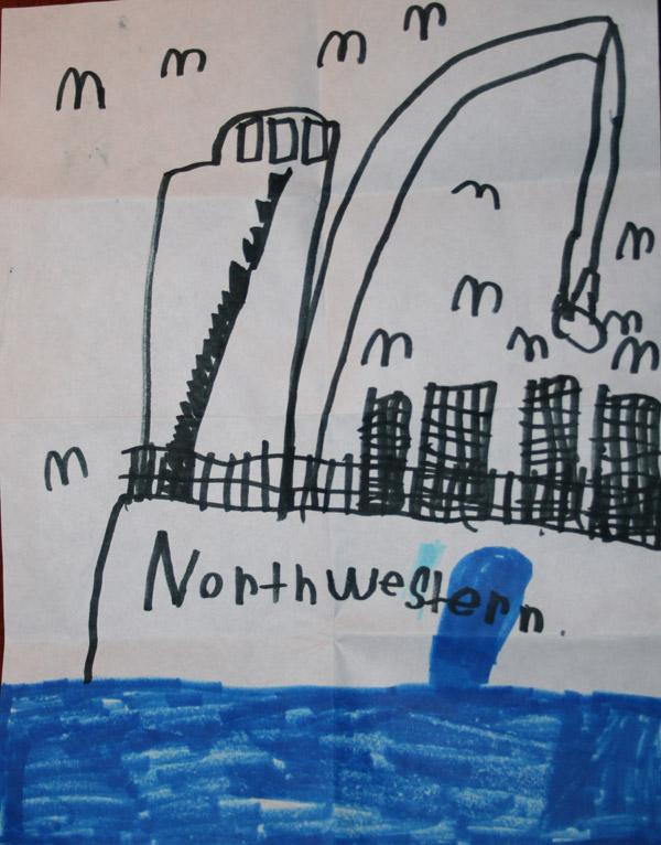 Northwestern Drawn by Ethan Cherry - Age 7